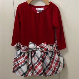 Bonnie Jean LongSleeved Red & Plaid Holiday Dress